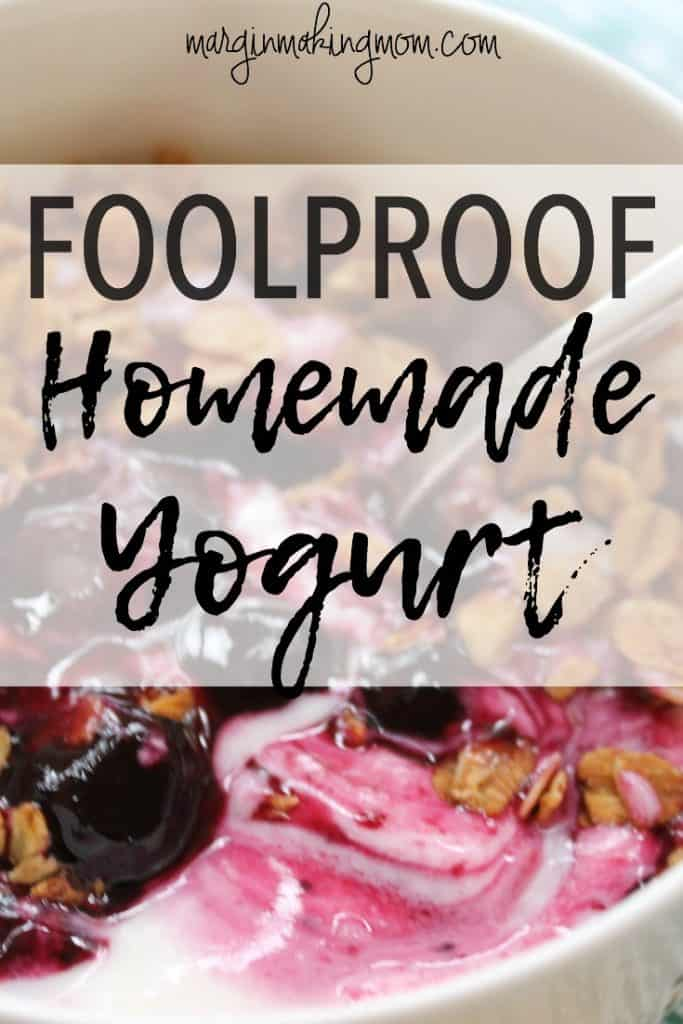 This foolproof homemade yogurt recipe is the perfectly easy way to make yogurt at home! Click through to give it a try! Homemade yogurt recipe | frugal recipes | easy yogurt