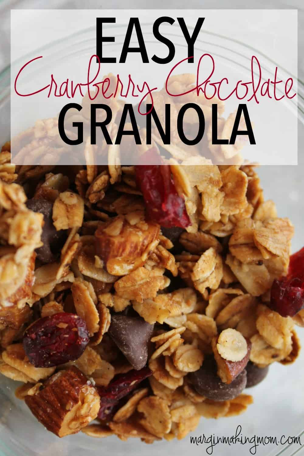 I love the sweet, crunchy perfection of this perfectly easy cranberry chocolate granola. It is great by itself or as a yummy topping for yogurt or ice cream!
