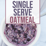 white bowl with pressure cooker oatmeal with blueberries mixed in