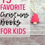"""Small Christmas tree ornament on a wood background with overlay that reads, """"13 Favorite Christmas Books for Kids"""""""