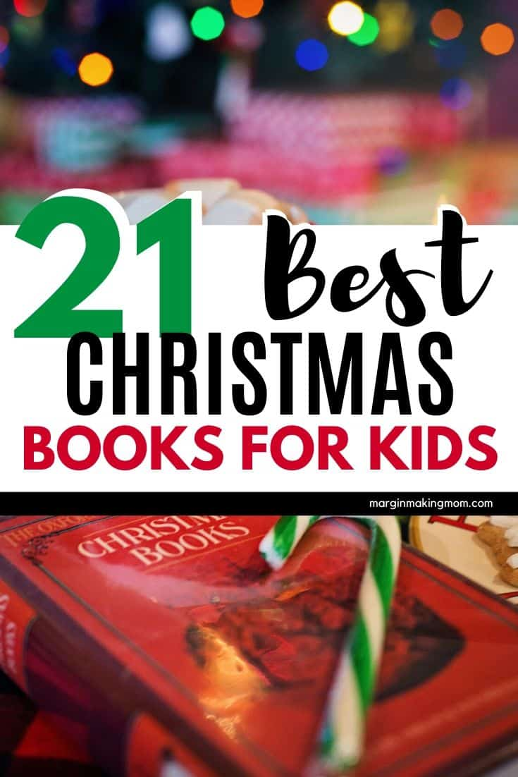"""Red book titled """"Christmas Books"""" with a green striped candy cane resting on top"""