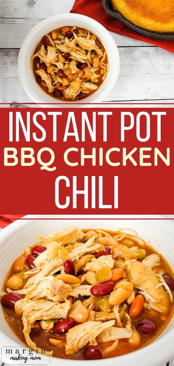 white bowl filled with instant pot bbq chicken chili