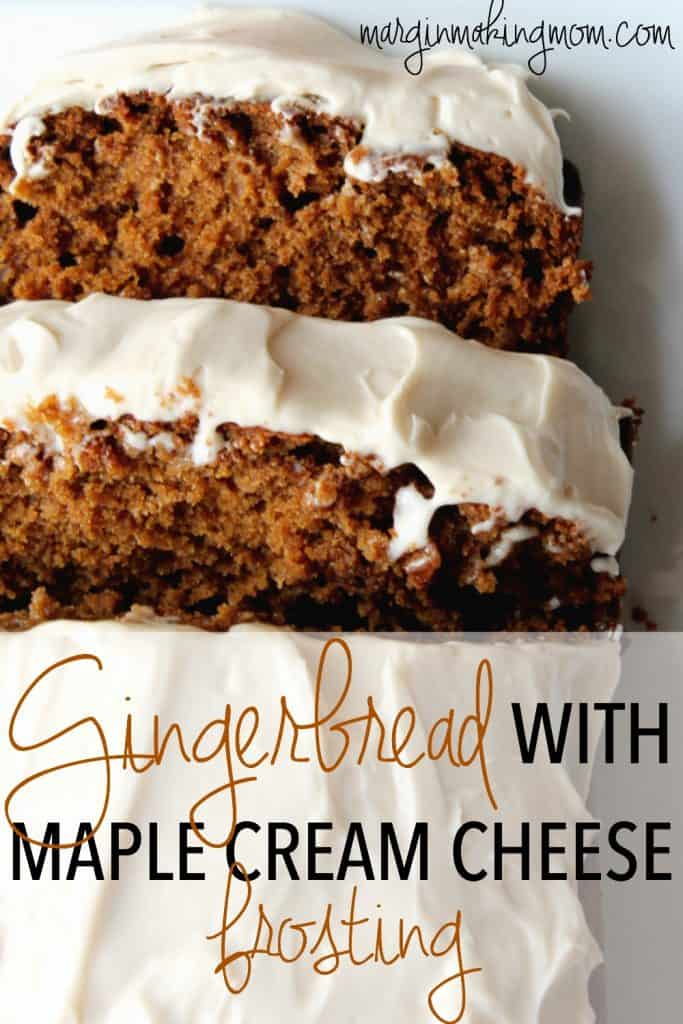 This warmly spiced gingerbread is topped with an amazing maple cream cheese frosting. It's the perfect holiday treat! Gingerbread Recipes   Maple Cream Cheese Frosting   Christmas Recipes   Holiday Recipes   Holiday Dessert Recipes   Christmas Dessert Recipes