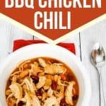 pressure cooker bbq chicken chili in a white bowl