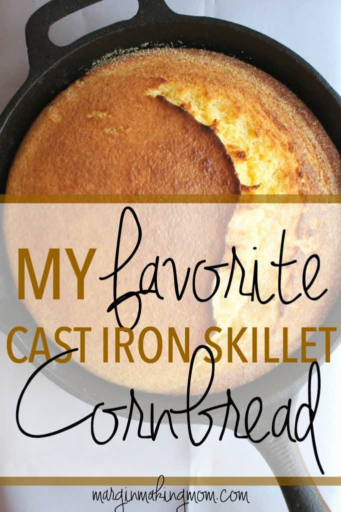 This cast iron skillet cornbread is tender but not-too-crumbly; moist but not cakelike. Slightly sweet with the most delicious crust! Cornbread | Cast Iron Skillet | Frugal Side |Southern Cornbread