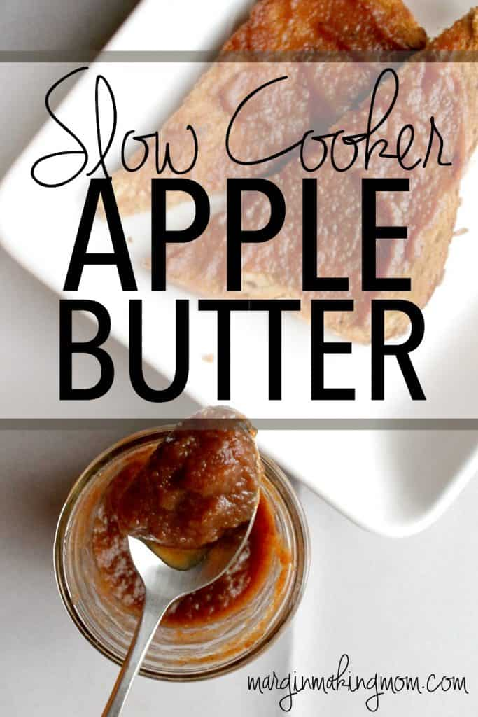 This slow cooker apple butter is the perfect blend of fall spices and sweet apples. Making it in the slow cooker makes it so easy! It is perfect on top of toast, English muffin bread, biscuits, rolls, or scones!