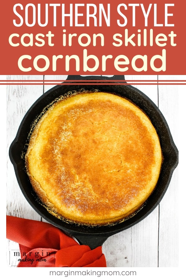 cast iron skillet cornbread with a red cloth napkin