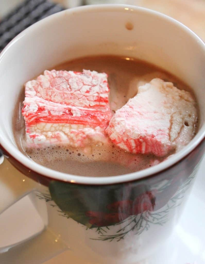 These peppermint swirl marshmallows are a pretty and tasty way to dress up a cup of cocoa or coffee! They also make a lovely inexpensive handmade gift! They only require a handful of ingredients and no corn syrup!
