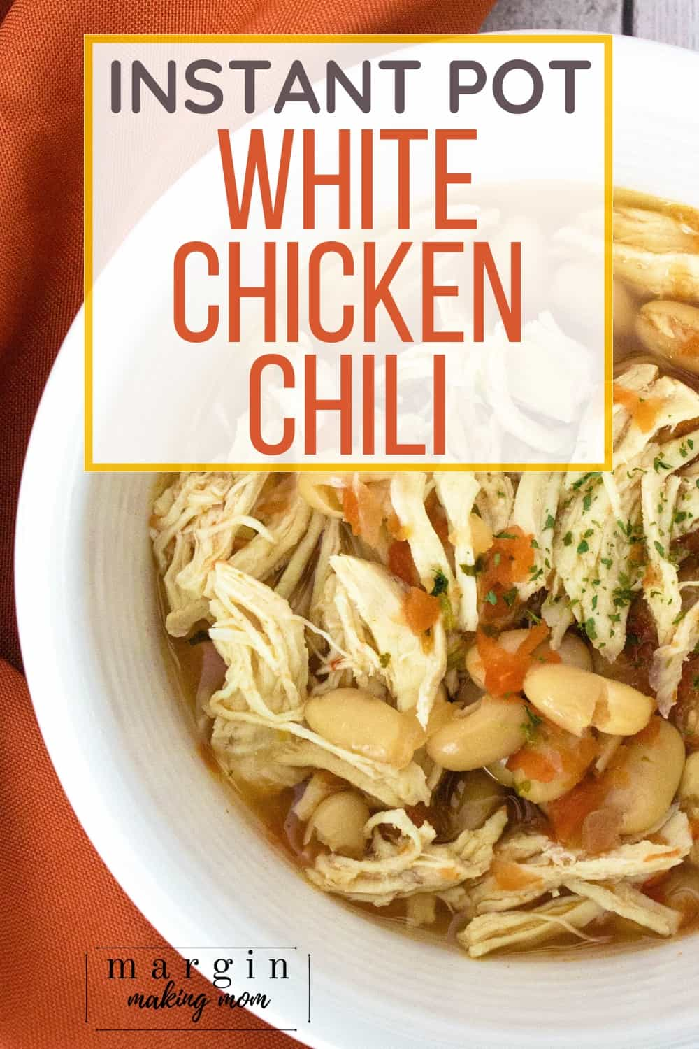 white bowl filled with Instant Pot white chicken chili