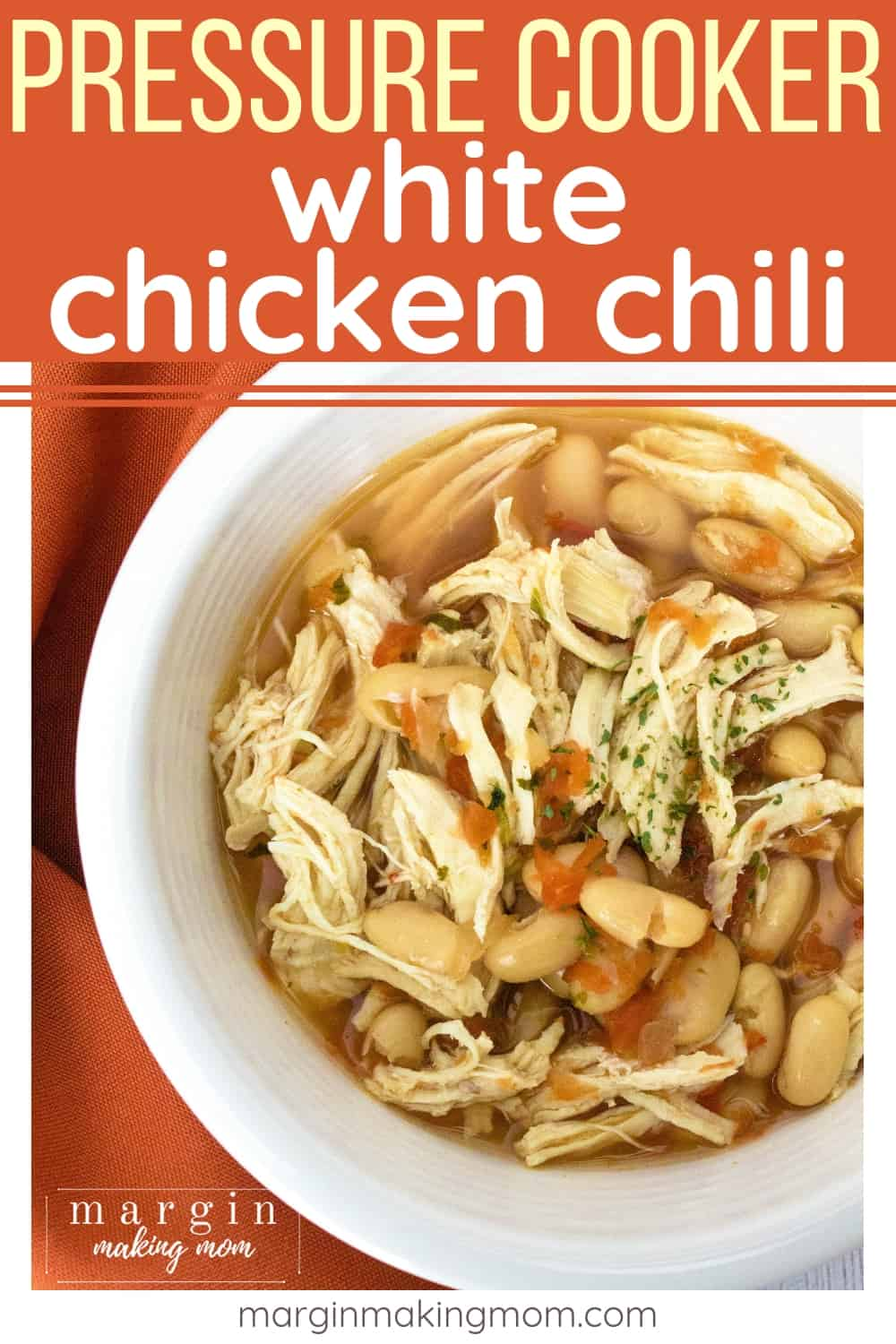 white bowl filled with pressure cooker white chicken chili made in the Instant Pot