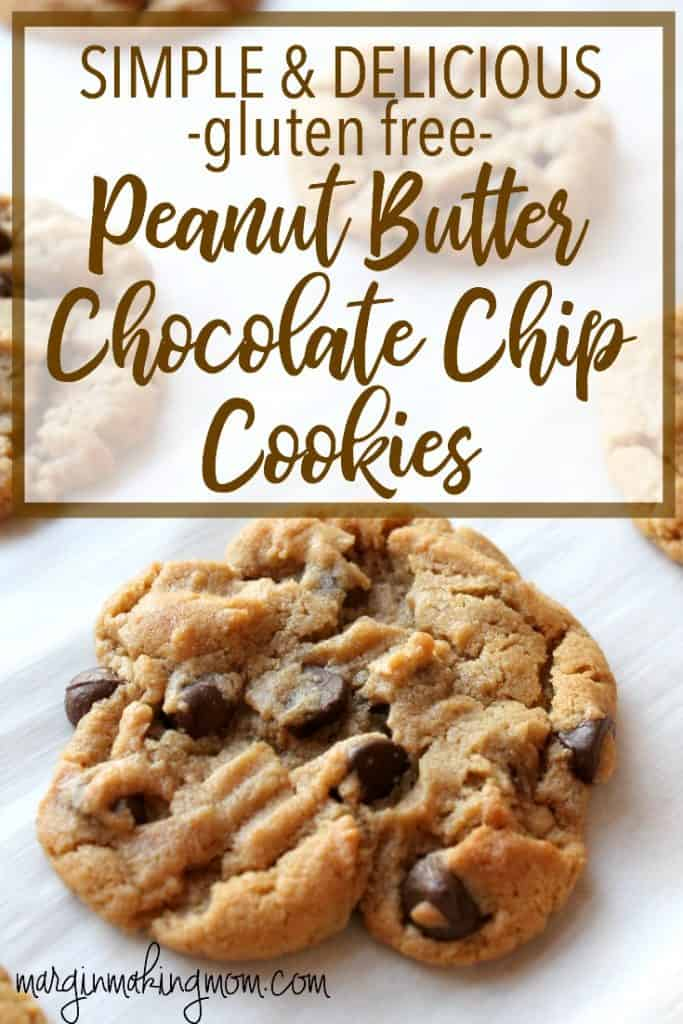These gluten free peanut butter chocolate chip cookies are super simple and use pantry staples. They are soft baked and absolutely delicious! Gluten Free Cookies | Easy Cookie Recipes | Peanut Butter Cookies