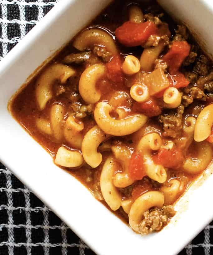 pressure cooker chili mac in a white bowl