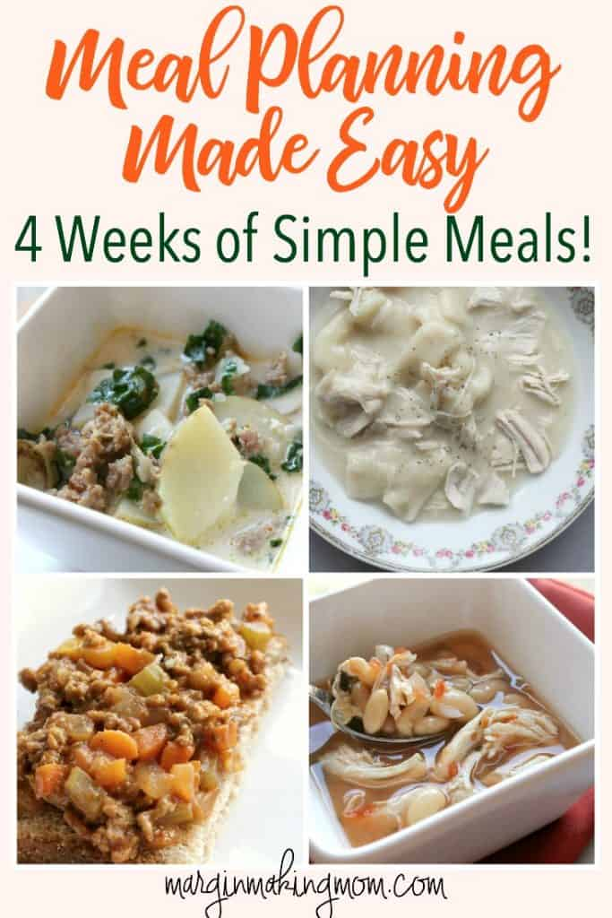 Having inspiration can make meal planning much easier! These 4 weekly meal plans from our family are full of dinner ideas for you! Click through to see how easy it can be! Sample Meal Plans | Simple Meal Plans | Weekly Meal Planning