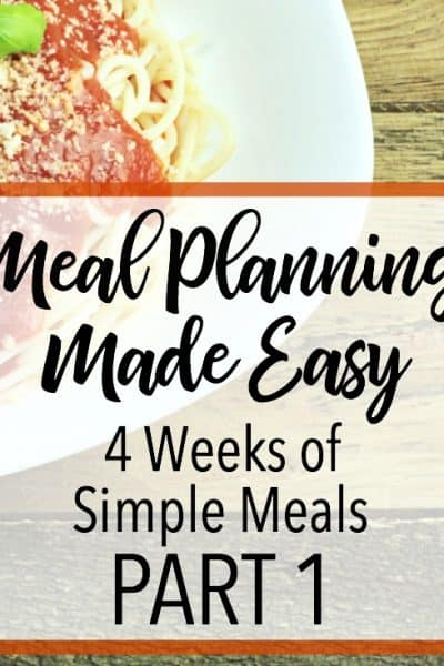 Need inspiration for your weekly meal plan? These four weeks of simple meals will give you plenty of ideas! Click through for easy meals! Simple meal plans | Easy meal planning | Meal plan ideas | Simple weekly meal plans