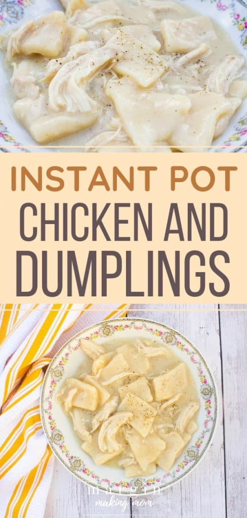 china bowl filled with pressure cooker chicken and dumplings next to a white and yellow kitchen towel