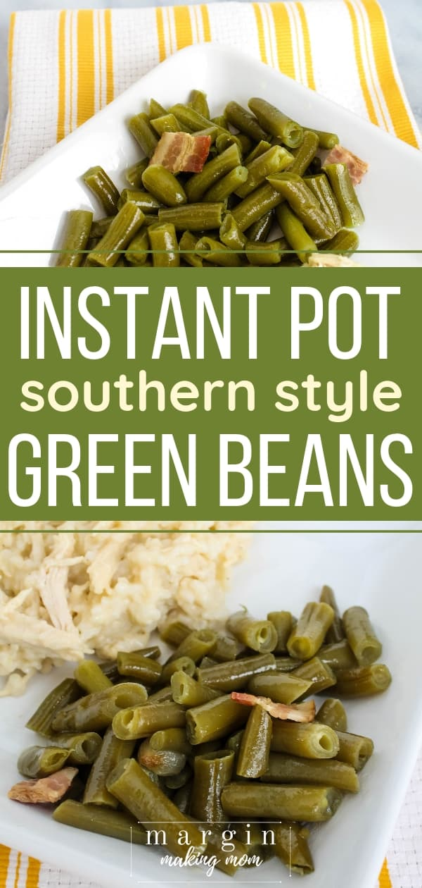white plate with instant pot green beans on top