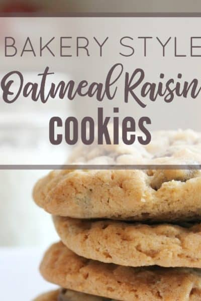 These bakery style oatmeal raisin cookies are perfectly soft and chewy! I love the buttery sweetness matched with the plump raisins. They are absolutely perfect! Learn how to make them by clicking through!