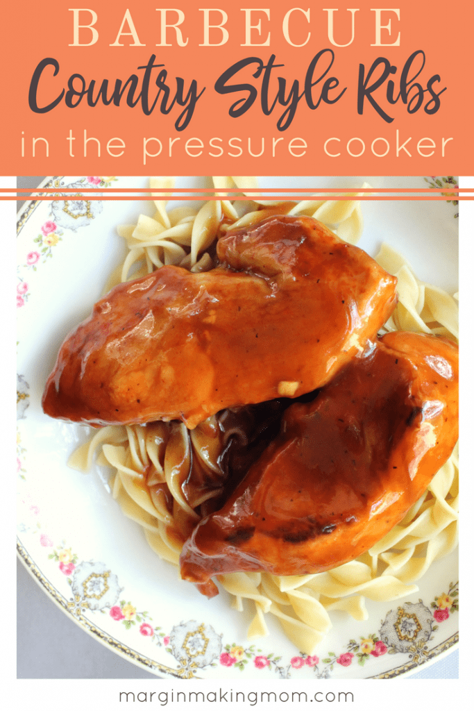 These easy pressure cooker BBQ country style ribs are tender and flavorful, and they cook up in mere minutes thanks to the Instant Pot! Click through to get the recipe! Easy dinner ideas | pressure cooker ribs | Instant Pot ribs
