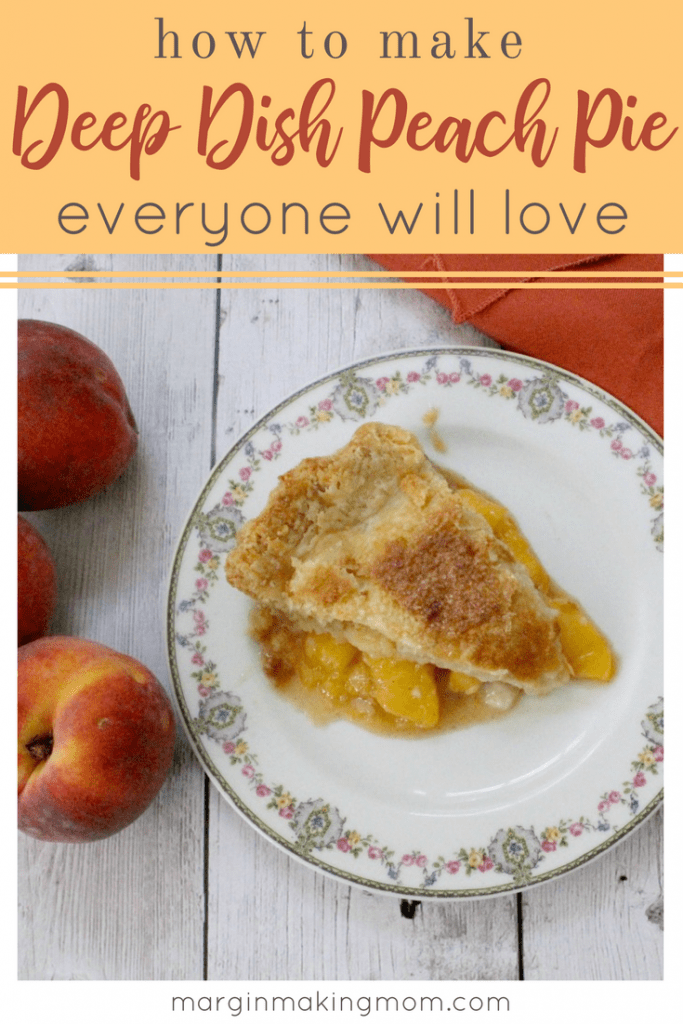 This deep dish peach pie showcases the natural sweetness of perfectly ripe, delicately spiced juicy peaches wrapped in a tender, flaky crust.