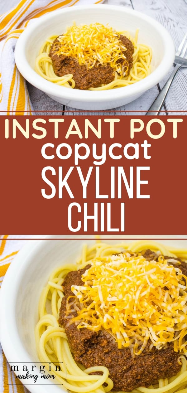 white bowl filled with spaghetti and cincinnati skyline chili made in the Instant Pot