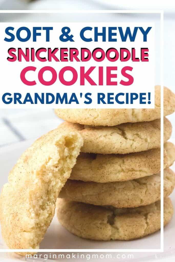 stack of homemade snickerdoodle cookies