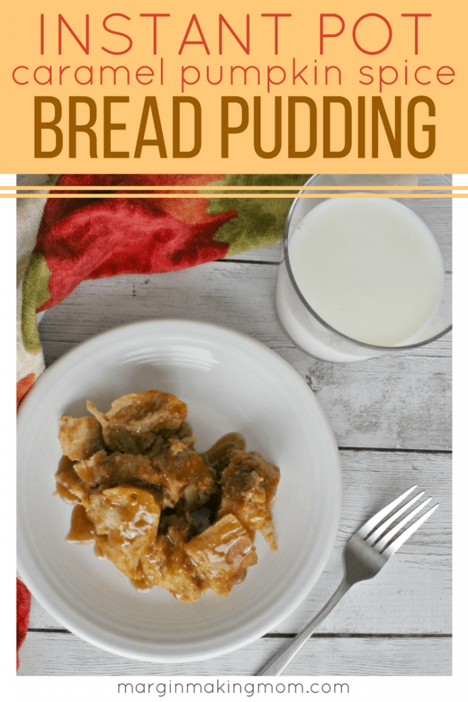 You'll love how easy it is to make this caramel pumpkin spice bread pudding in the pressure cooker! It saves time and the result is warmly decadent! Click through to learn how! Instant Pot Bread Pudding | Pumpkin Bread Pudding in the Pressure Cooker | Pressure Cooker Breakfasts | Pressure Cooker Desserts