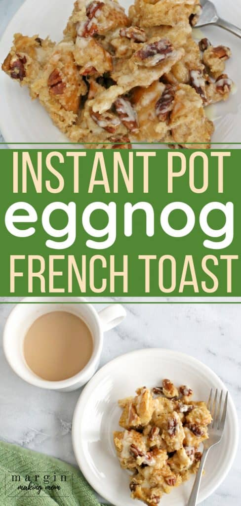 pressure cooker eggnog french toast on a white plate next to a cup of chai tea