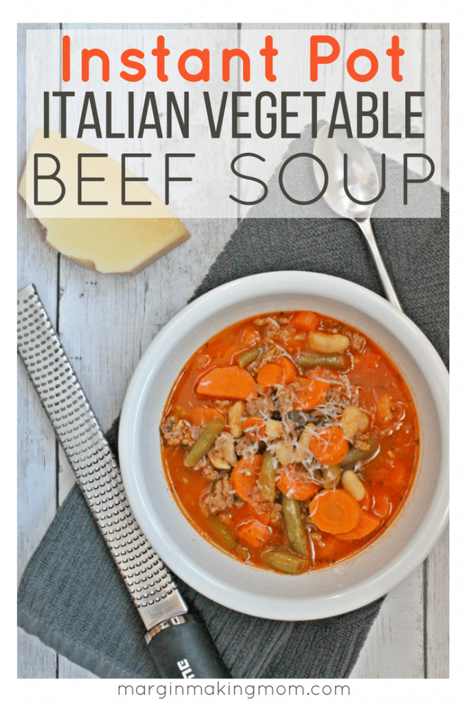 Making vegetable beef soup in the Instant Pot is a cinch! Pressure cooker soups are great because they cook quickly but taste like they simmered for hours. Quick, easy, and delicious. Click through to learn how to make it! Healthy Instant Pot Soups | Instant Pot Vegetable Beef Soup | Pressure Cooker Vegetable Beef Soup
