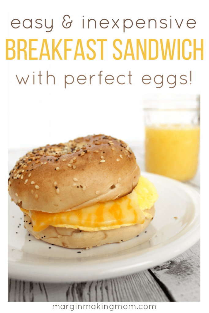 This easy and inexpensive breakfast sandwich is a quick way to enjoy breakfast without the drive-thru! You'll love my tip for creating perfect eggs for your sandwich, then top it however you want! Save money and cut calories at the same time with this tasty breakfast.