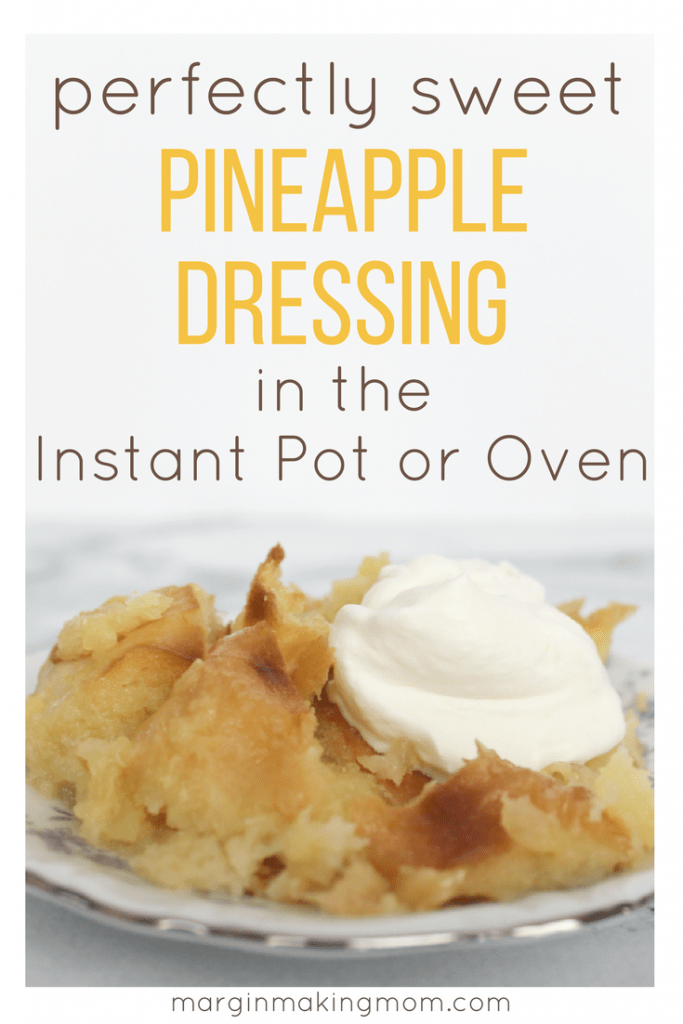 Pineapple dressing is a sweet counterpart of the typical savory variety enjoyed with holiday meals. It is delicious served as a side item, or you can top it with a dollop of whipped cream for a delectable dessert. You can make this sweet pineapple dressing in the Instant Pot or in the oven!
