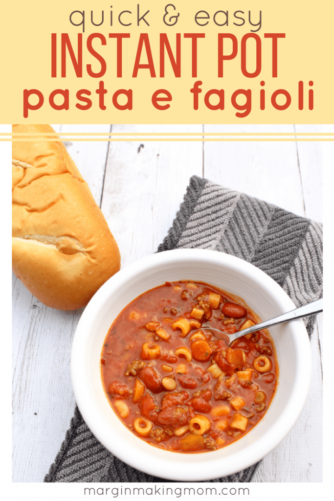 Making this pasta e fagioli in the Instant Pot lets you get a delicious dinner on the table in a flash! Beef, beans, and pasta are simmered in a flavorful tomato broth, creating a hearty soup your family will love. If you don't have an Instant Pot, you can follow the stove top directions.