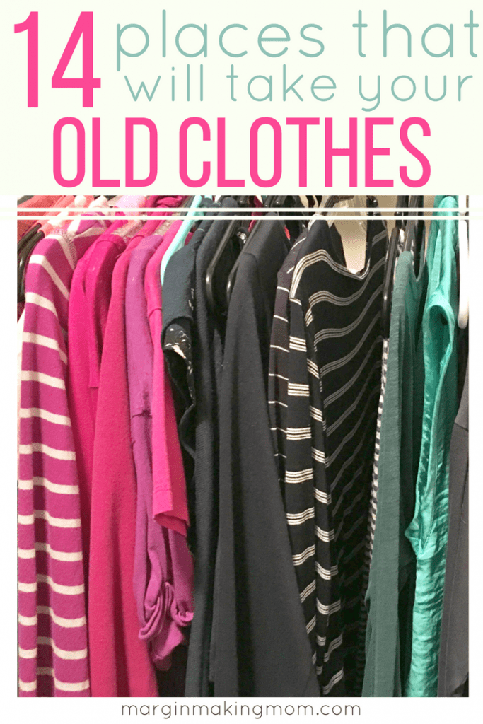 One of my favorite tips for decluttering clothes is to have a plan for what to do with old clothes when you're done! Whether you want to earn a little cash, donate, or recycle those clothes, this list is full of ideas for places that will take your old clothes!