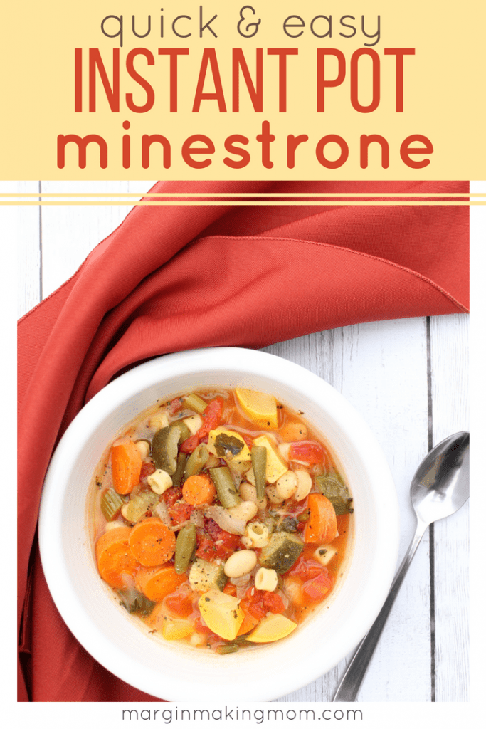 After a busy day, I need to get dinner on the table fast. This quick and easy Instant Pot minestrone is a frugal and tasty recipe that is ready in minutes, thanks to the pressure cooker! You'll love how versatile and easy it is!