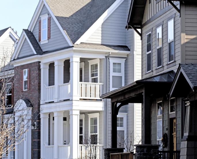 Three neighboring houses
