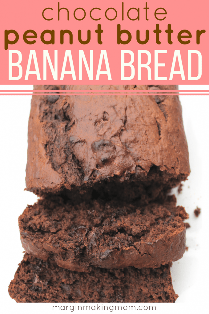 loaf of chocolate peanut butter banana bread with one piece sliced off