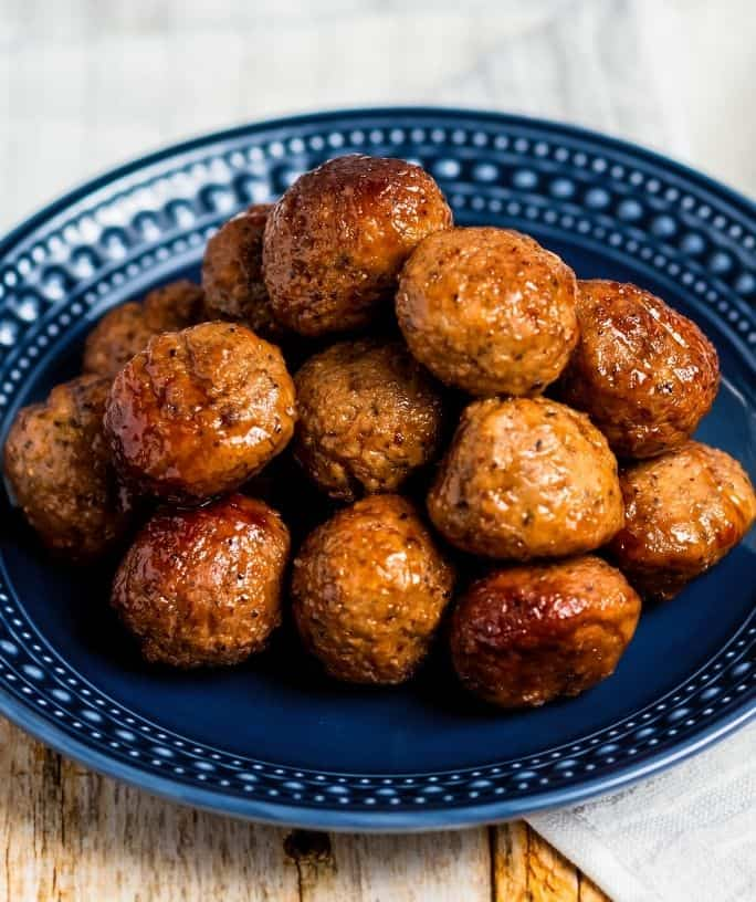 Instant Pot cocktail meatballs on a blue plate