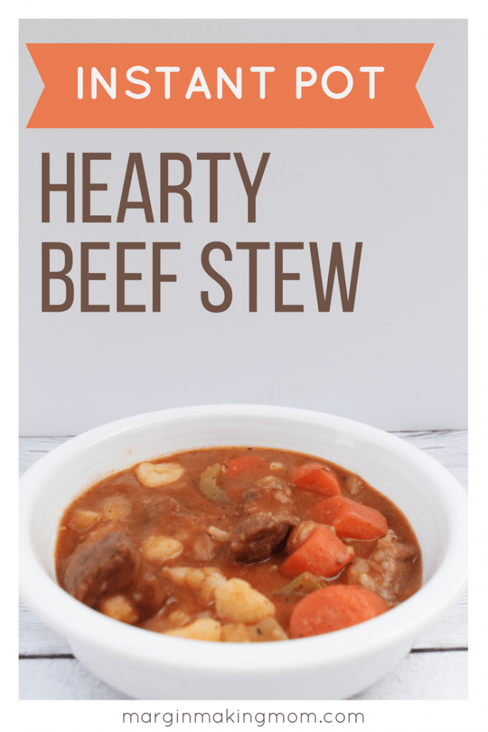 white bowl filled with pressure cooker beef stew