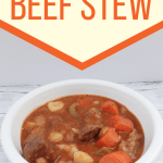 White bowl filled with beef stew