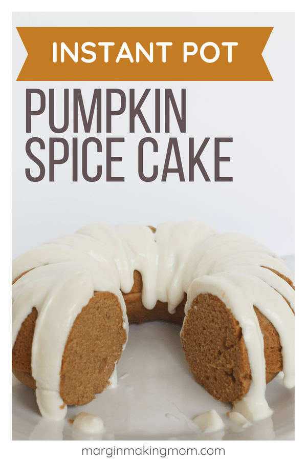pressure cooker pumpkin spice bundt cake with a slice removed