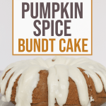 pressure cooker pumpkin spice bundt cake topped with cream cheese icing