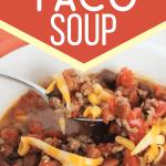 white bowl full of pressure cooker taco soup