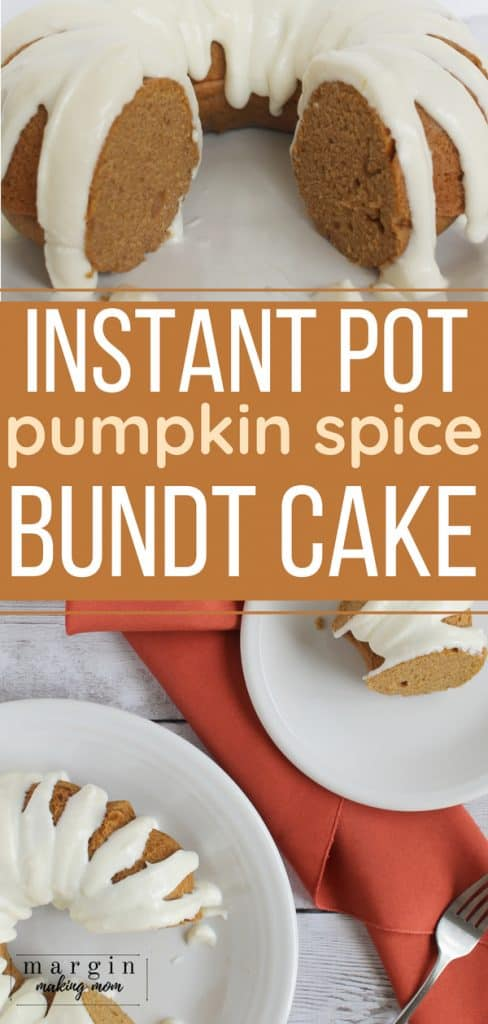 pumpkin pressure cooker bundt cake on a white plate