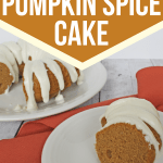 slice of pressure cooker pumpkin spice bundt cake on a white plate in the foreground with the remaining cake on a serving plate in the background