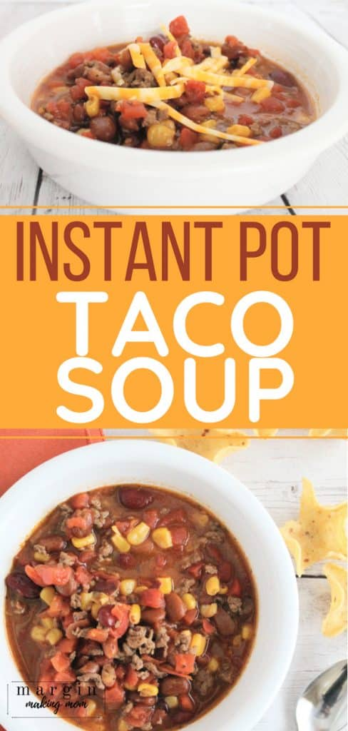 white bowl of instant pot taco soup next to white corn chips