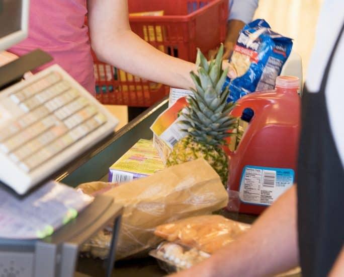 grocery store checkout lane
