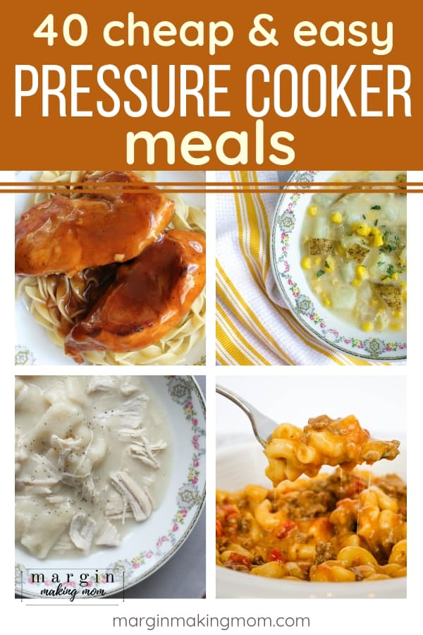 collage image of four cheap instant pot meals
