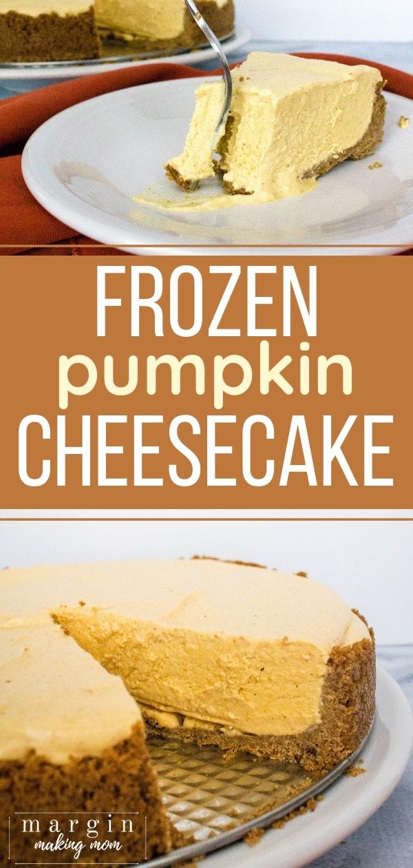 frozen pumpkin cheesecake on a white plate