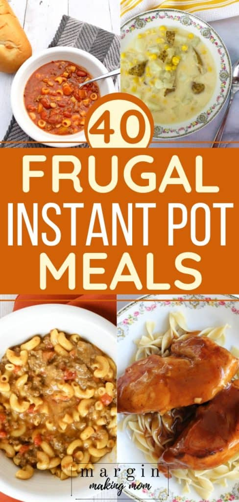 collage image with four pictures of instant pot meals