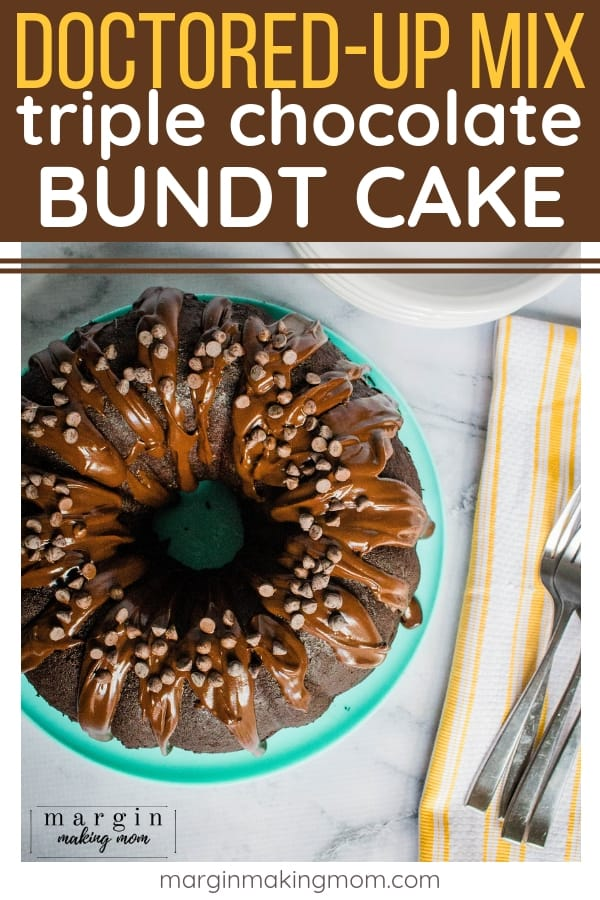 triple chocolate bundt cake on a teal plate