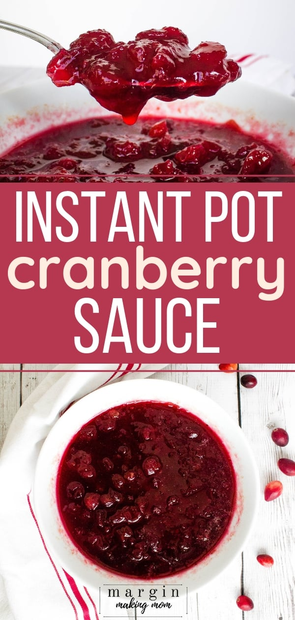white bowl filled with instant pot cranberry sauce
